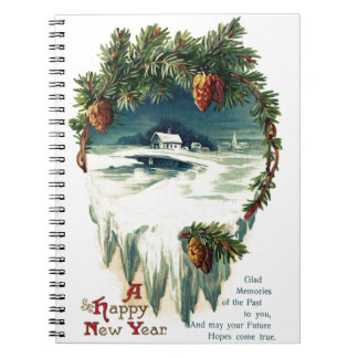 Pinecones and Winter Vignette Vintage New Year Notebook