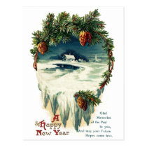 Pinecones and Winter Vignette Vintage New Year Postcard