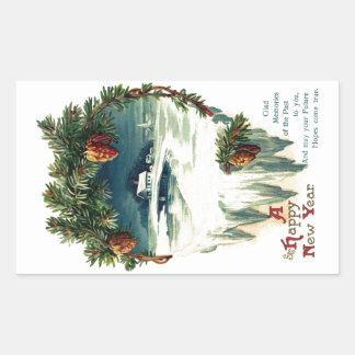 Pinecones and Winter Vignette Vintage New Year Rectangular Sticker