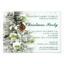 Pinecones at Snow Christmas Party Invitation