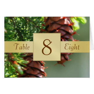 Pinecones Gold Table Number Folded Card