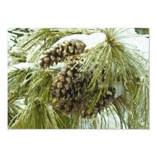 Pinecones in Snow Invitation