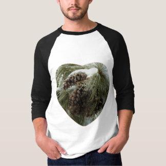 Pinecones in Snow Men's 3/4 Sleeve Raglan T-Shirt