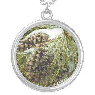 Pinecones in Snow Round Necklace