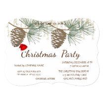 Pinecones ,Santa Hat Christmas Corporated Party Invitation
