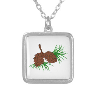 Pinecones Silver Plated Necklace