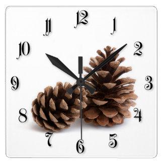 Pinecones Square Wall Clock