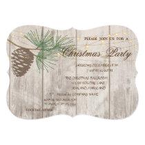 Pinecones ,Wood Texture  Christmas Corporated Invitation