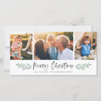 Pineneedle Merry Christmas Modern 3 Photo Collage Holiday Card