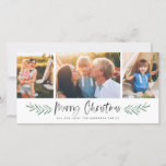 """Pineneedle Merry Christmas Modern 3 Photo Collage Holiday Card<br><div class=""""desc"""">Featuring painted pine needle leaves,  brush script,  and 3 photo collage.</div>"""