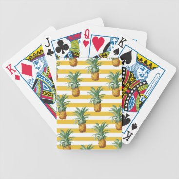 pinepples yellow stripes bicycle playing cards