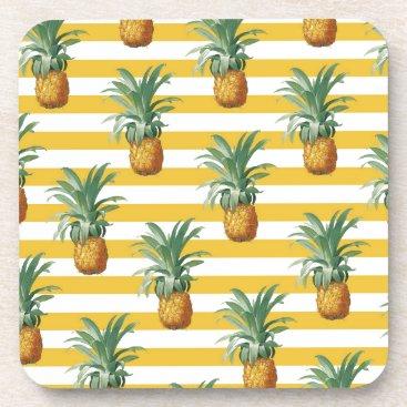 pinepples yellow stripes coaster