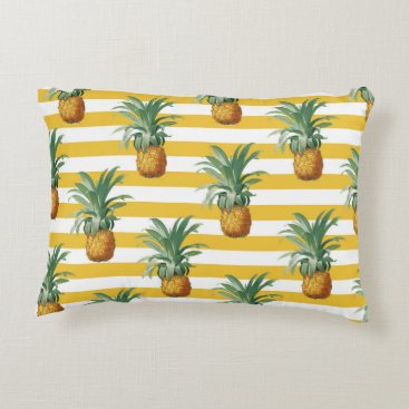 pinepples yellow stripes decorative pillow