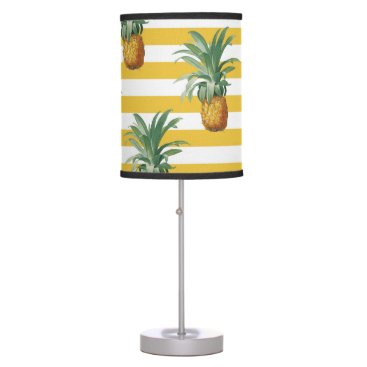 pinepples yellow stripes desk lamp