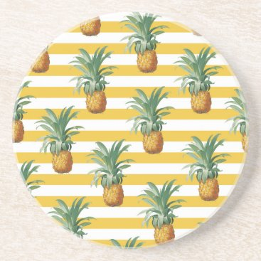 pinepples yellow stripes drink coaster
