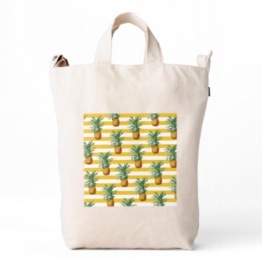 pinepples yellow stripes duck bag