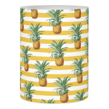 Beach Themed pinepples yellow stripes flameless candle