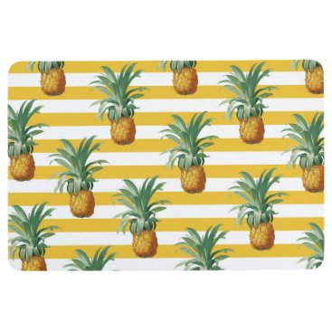 pinepples yellow stripes floor mat