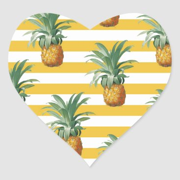 pinepples yellow stripes heart sticker