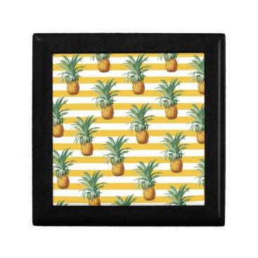 pinepples yellow stripes keepsake box
