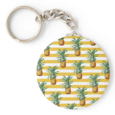pinepples yellow stripes keychain