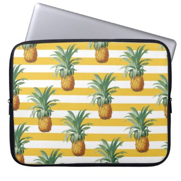 pinepples yellow stripes laptop sleeve