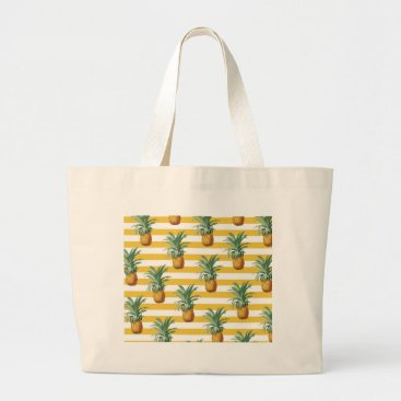 pinepples yellow stripes large tote bag