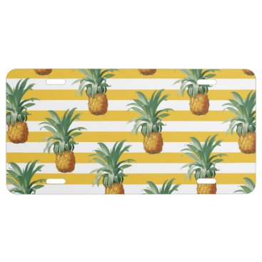 pinepples yellow stripes license plate