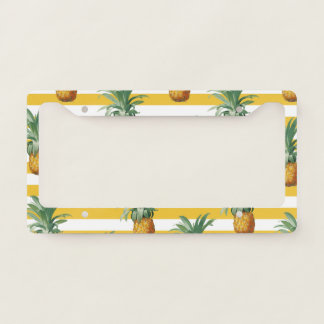 pinepples yellow stripes license plate frame