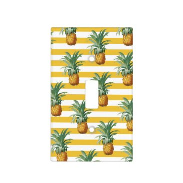pinepples yellow stripes light switch cover