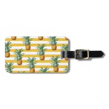pinepples yellow stripes luggage tag