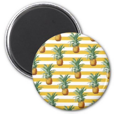 pinepples yellow stripes magnet