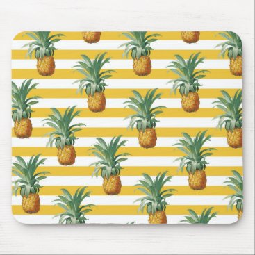 pinepples yellow stripes mouse pad