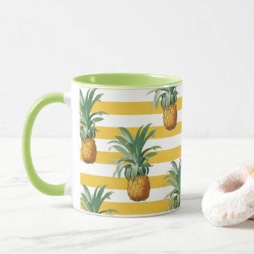 pinepples yellow stripes mug