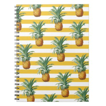 pinepples yellow stripes notebook