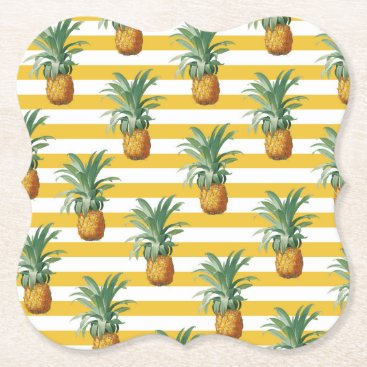 pinepples yellow stripes paper coaster