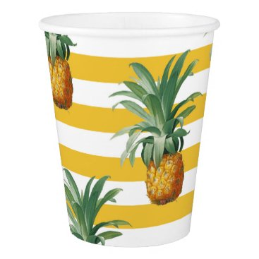 Beach Themed pinepples yellow stripes paper cup