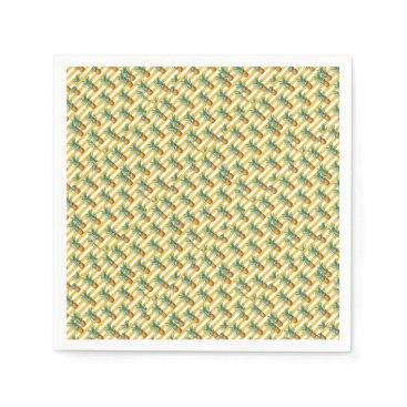 Beach Themed pinepples yellow stripes paper napkin