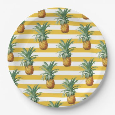 pinepples yellow stripes paper plate