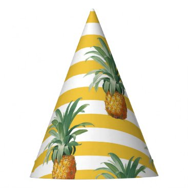 Beach Themed pinepples yellow stripes party hat
