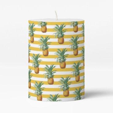 Beach Themed pinepples yellow stripes pillar candle
