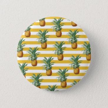 pinepples yellow stripes pinback button