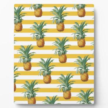 pinepples yellow stripes plaque