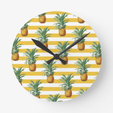 pinepples yellow stripes round clock