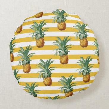 pinepples yellow stripes round pillow