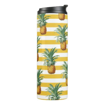 pinepples yellow stripes thermal tumbler