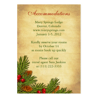 Pines Boughs Holiday Winter Wedding Insert Cards Large Business Card