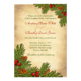Pines Boughs Holiday Winter Wedding Invitation