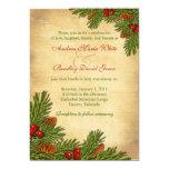 "Pines Boughs Holiday Winter Wedding Invitation 5"" X 7"" Invitation Card"