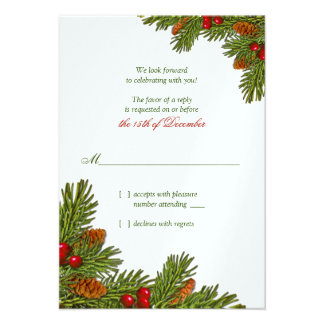 Pines Boughs Holiday Winter Wedding RSVP Card Personalized Invitation